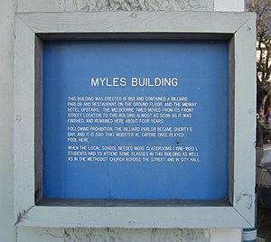 Myles Building - Image: Myles Building Historical Marker 1