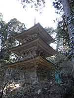 A three-storied wooden pagoda in a forest.