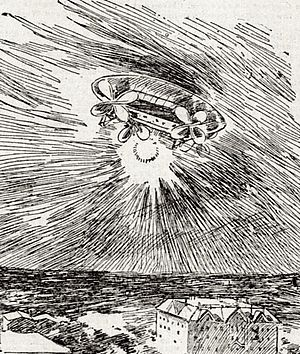 Mystery airship -  Mystery airship illustrated in the San Francisco Call, November 1896