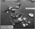 NAPSPH^ 118536 USS Arizona (BB39)- Salvage Aerial views looking forward from just aft of turret ^4 - NARA - 296931.tif