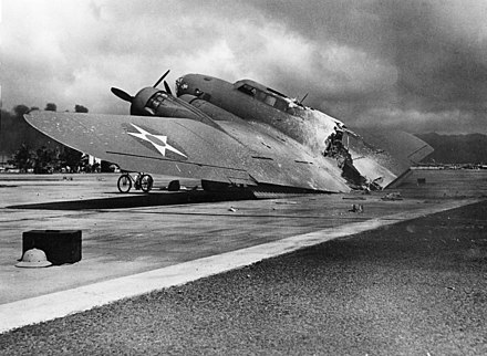 B-17C AAF S/N 40-2074 at Hickam Field: An onboard fire burnt the aircraft in two shortly after landing on 7 December 1941. One crewman was killed by Zero attack. NARA 28-1277a.jpg