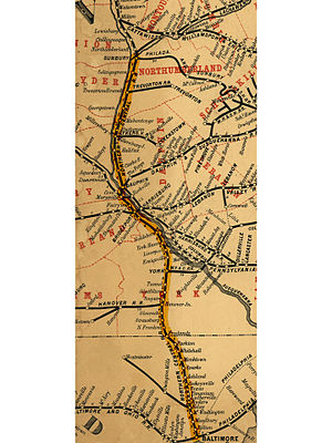 Northern Central Railway - Image: NCRY map 1863