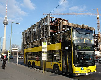 Bus transport in Berlin - A double decker bus of line 100 nearby Alexanderplatz
