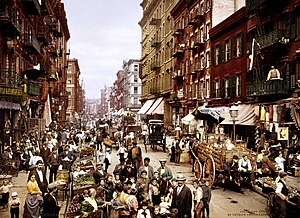 A color photograph of Little Italy, Manhattan ...