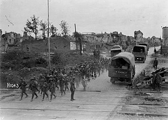 Second Battle of Bapaume - A New Zealand infantry battalion passing through recaptured Bapaume, 14 September 1918