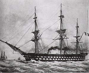 French Navy - Le Napoléon (1850), the first steam battleship in history.