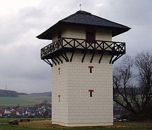 Niedernhausen - Reconstructed Roman watchtower on the Dasbach Heights between Idstein and Oberseelbach