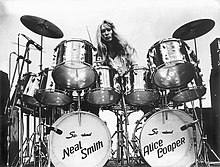 "Neal Smith at his 22 chrome Slingerland. Photo taken by Carl Dunn in 1972 at the ""School's Out"" concert at the Memorial Auditorium in Dallas Texas."