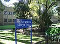 Newman College - sign and Mannix wing.JPG