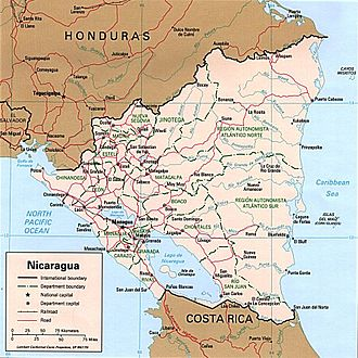 Geography of Nicaragua - Political map of Nicaragua