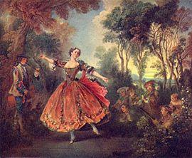 Nicolas Lancret: La Camargo dansant (vers 1730) La grâce libre et la fantaisie capricieuse des décors champêtres de Lancret et de Watteau étaient très goûtées au milieu du XVIIIesiècle. Après 1750, ce furent les rocs tourmentés, les tempêtes, les vagues en furie de Claude Joseph Vernet qui eurent la faveur. (Wallace Collection, Londres).