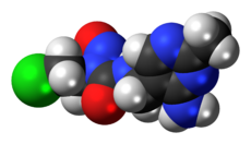 Space-filling model of the nimustine molecule