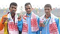 Nitender Singh Rawat of India won Gold Medal, Cooray Anuradha Indrajith of Sri Lanka won Silver Medal and Khetha Ram of India won Bronze Medal in Men's Marathon 42 km Run in Athletics, at the 12th South Asian Games-2016.jpg