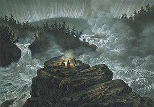 Der Wasserfall Harsprånget war der größte Wasserfall des Lule älv, bis er durch das Wasserkraftwerk Stora harsprånget trocken fiel. Die Lithografie von Carl Svante Hallbeck aus dem Jahr 1856 zeigt den Wasserfall in der Polarnacht mit drei Zuschauern am Lagerfeuer, von denen einer steht und das Polarlicht beobachtet