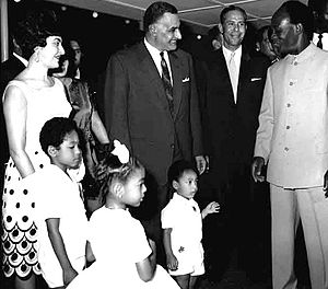 Foreign relations of Ghana - Kwame Nkrumah and his family meeting Egyptian President Gamal Abdel Nasser during the 1965 OAU Summit in Accra.