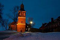 Nocny widok na Kościół św. Piotra i Pawła w Węgorzewie.jpg