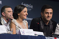 Nodi Tatishvili and Sophie Gelovani, ESC2013 press conference 03.jpg