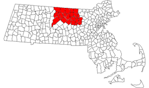 Montachusett-North County - Map of Massachusetts with North County highlighted