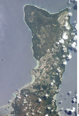This image has an empty alt attribute; its file name is 256px-North_Guam_from_space.jpg