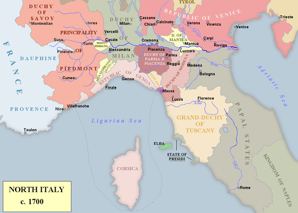 Northern Italy; Milan and Savoy were the primary areas of conflict North Italy 1700.png