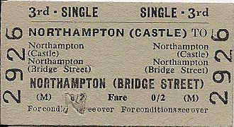 Northampton railway station - Castle to Bridge Street ticket from 1957.