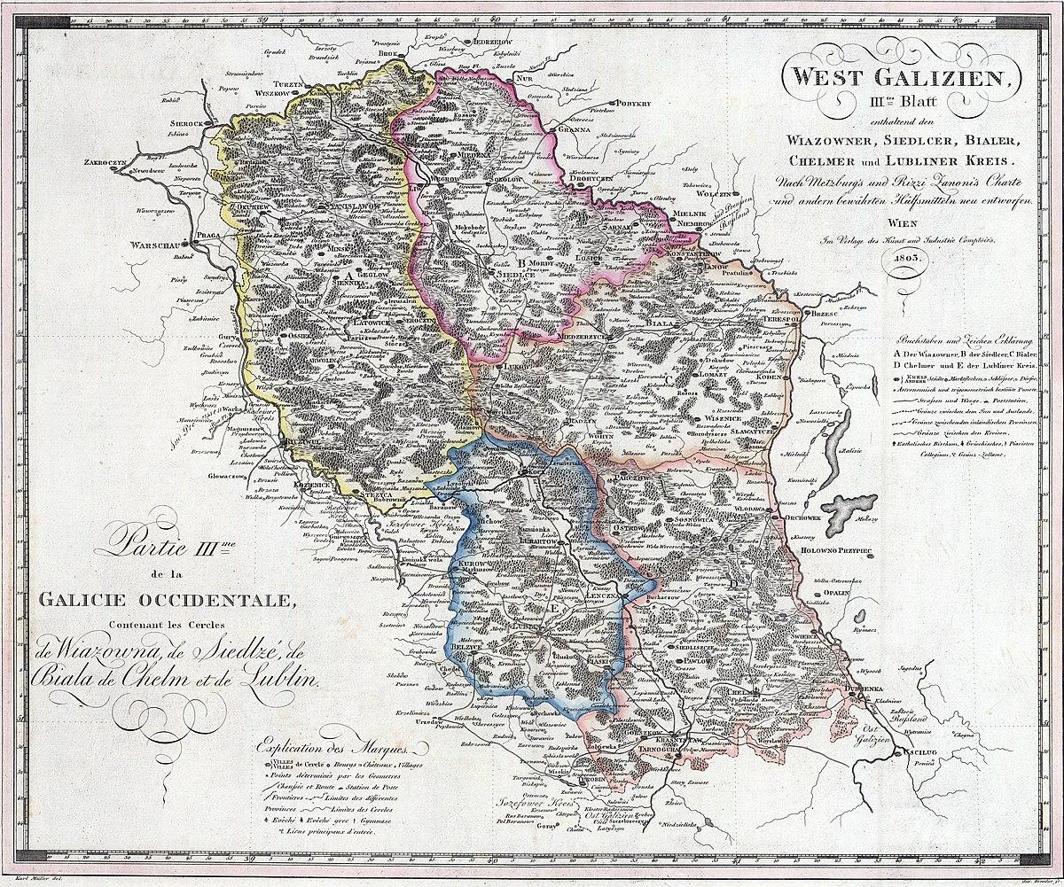 File Nowa Galicja Mapa Wiazowna Siedlce Biala Chelm Lublin 1803