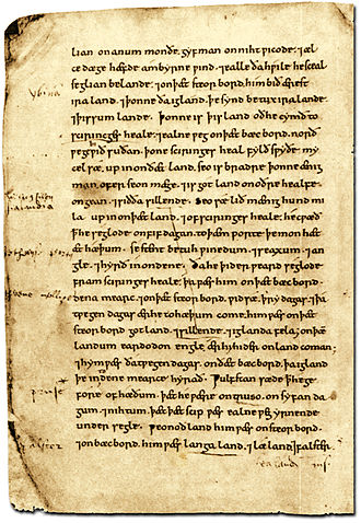 Ohthere of Hålogaland - Page from the 11th-century copy of the Old English Orosius (BL Cotton Tiberius B.i) featuring the place-names Denmark (dena mearc), Norway (norðweg), Iraland and Sciringes heal