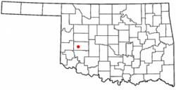 Location of Dill City, Oklahoma