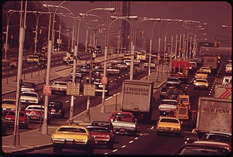 Queens Boulevard - At 59th Street, looking toward the East River and Manhattan, 1973