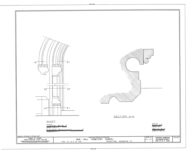 File:Oak Hill Cemetery, Chapel, 3001 R Street Northwest, Northeast of gatehouse, Washington, District of Columbia, DC HABS DC,GEO,41B- (sheet 10 of 14).png