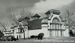 Photo of the front of the tabernacle, taken from the intersection