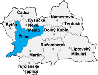 Dolný Hričov - Location of Žilina District in the Zilina Region