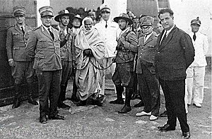 Libyan rebel leader Omar Muktar under arrest by Italian colonial forces in Libya.