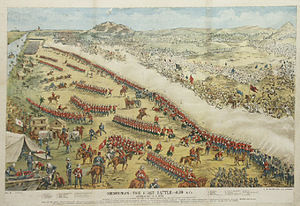 Battle of Omdurman - The Battle of Omdurman, 1898, from the Purton Museum, England. This illustration depicts the British wearing the red home service uniforms to identify the different regiments involved. The regiments in the picture have a number printed with them and a key at the bottom to identify them. The red uniforms had in fact been superseded by khaki for active service in India and Egypt since the early 1880s.