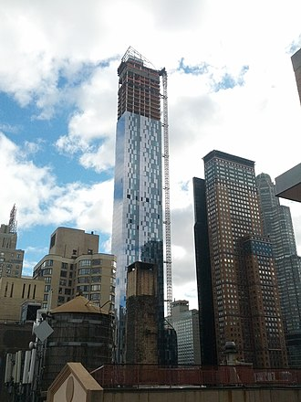 Planning permission - One57, a skyscraper in New York City, under construction. Such a development would have gone through stringent checks against the local building code before planning permission was granted.