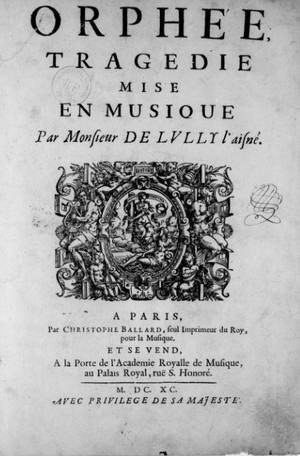 Orphée (Louis Lully) - The title page of the opera