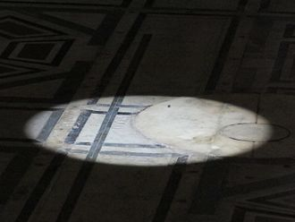 Camera obscura - The gnomon projection on the floor of Florence Cathedral during the solstice on 21.06.2012