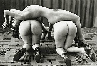 Dominance and submission - Human furniture:A nude submissive woman being used as a decorative table. She is required to stay in the same posture, such that the vase over her does not fall (top). A human-table formed using three nude submissive women (bottom).