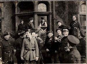 Black and Tans - A group of Black and Tans and Auxiliaries outside the London and North Western Hotel in Dublin following an attack by the IRA, April 1921