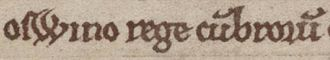 Owain ap Dyfnwal (fl. 934) - Owain's name and title as it appears on page 158 of Cambridge University Library Ff.1.27 (Libellus de exordio).