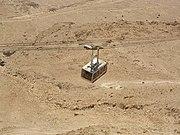 A tram car heading down from Masada