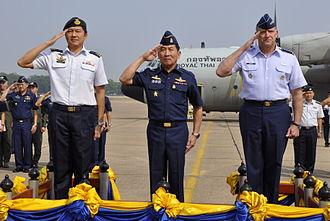Ng Chee Meng - Ng (left) with Itthaporn Subhawong and Gary L. North at Korat Royal Thai Air Force Base in March 2010