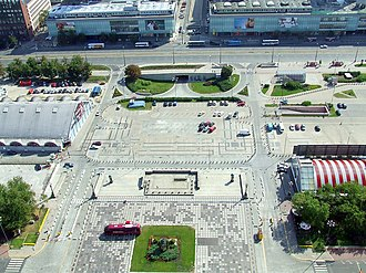 Parade Square - Parade Square showing a former marketplace (left) and  supermarket (right)
