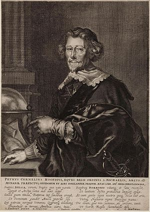 Peter Danckerts de Rij - Example of Dankerts-Sandrart collaboration in print of PC Hooft. This 1642 engraving was painted by Sandrart, etched by Reinier van Persijn, and printed by Danckerts. The poem in Latin at the bottom was written by Caspar Barlaeus.
