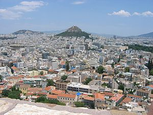 Athens from the Acropolis with the Lycabettus ...