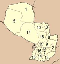 Η διοικητική διαίρεση της Παραγουάης.
