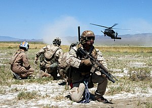 Combat search and rescue - An HH-60G Pave Hawk helicopter comes in for a landing during a training exercise.