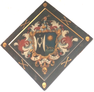 Montagu Edmund Parker -  Funerary hatchment of Montagu Edmund Parker (d.1831) of Whiteway and Blagdon, St John's Church, Paignton, showing the arms of Parker, with a crescent for the difference of a second son, impaling: Azure, a fox statant on grass proper in chief a sun in spendour or (Ourry)