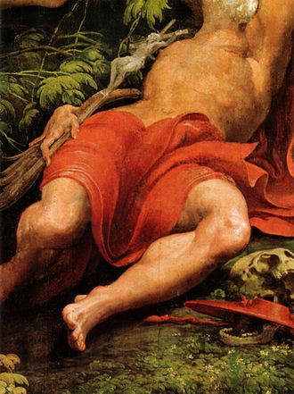 Vision of Saint Jerome - Detail of St. Jerome sleeping.