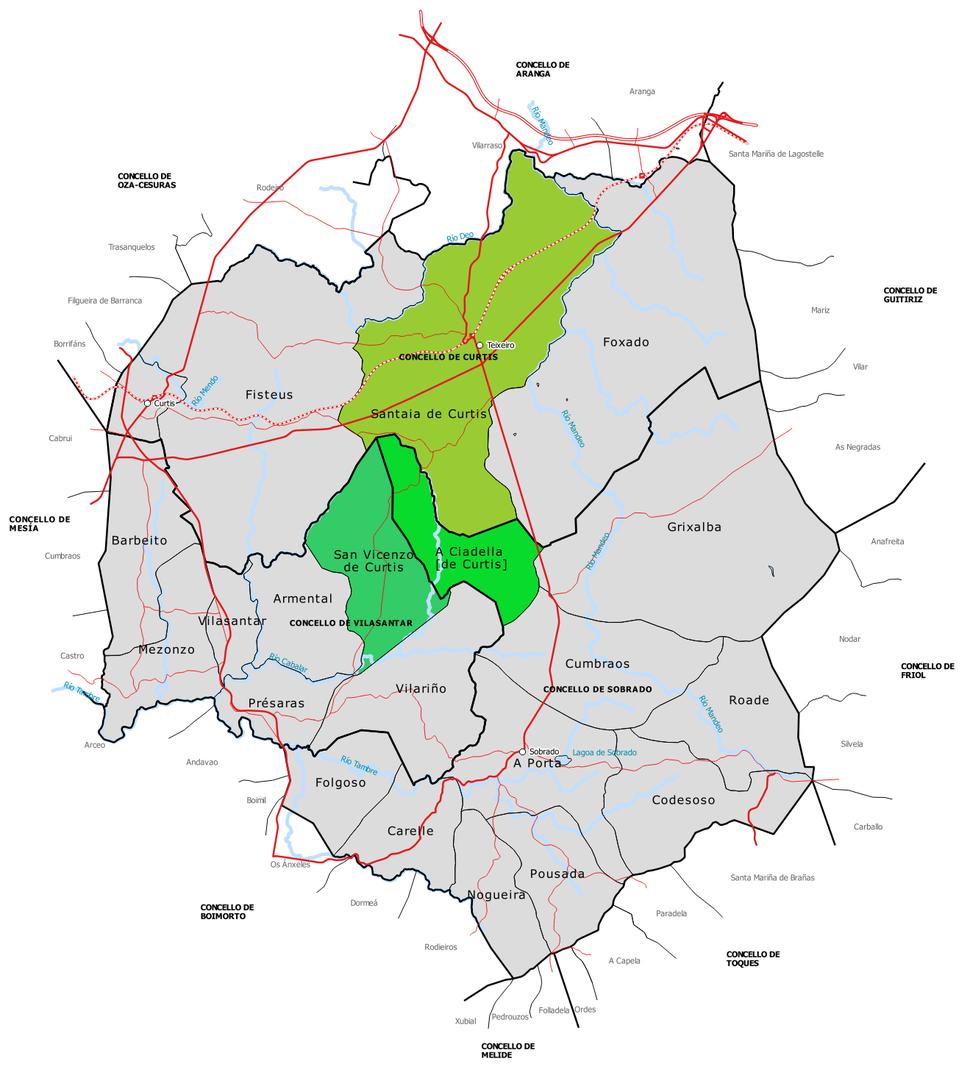 As tres parroquias de Curtis: Santaia de Curtis, A Ciadella (antiga Ciadella de Curtis) e San Vicenzo de Curtis.